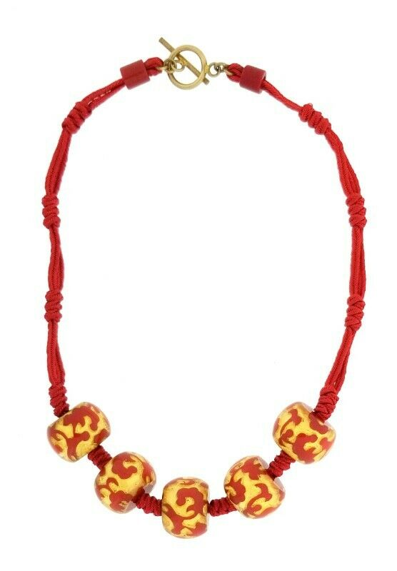 ZSISKA RESIN BAROQUE 5 SMALL BEAD NECKLACE ON KNOTTED SATIN CORD. RED AND GOLD.