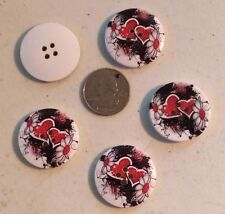 "Lot of 5 RED HEARTS 4-hole 1.25"" (30mm) Wooden Buttons Scrapbook Doll (0024)"
