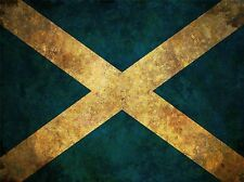 PRINT POSTER FLAG NATIONAL SCOTLAND SALTIRE BLUE WHITE STRESSED GRUNGE LFMP0561