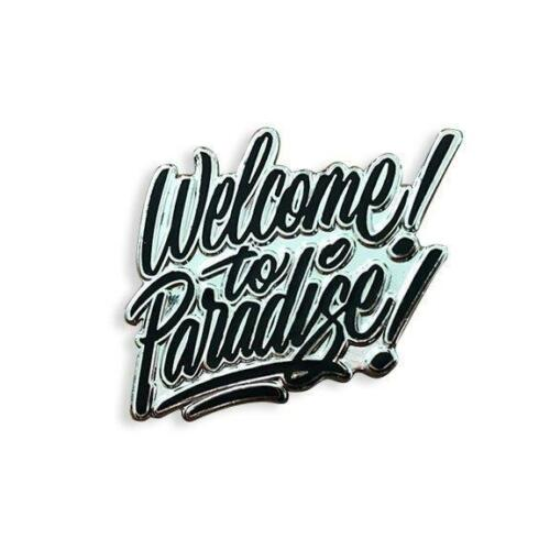 WELCOME TO PARADISE HARD ENAMEL BLACK SILVER PLATED LAPEL PIN BY YESTERDAYS CO.