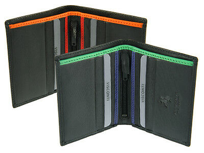 Visconti Mens Bifold Compact Leather Wallet For Credit Cards, Banknotes - BD14