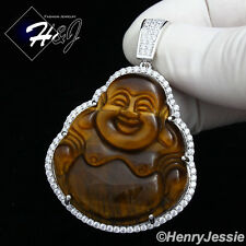 925 STERLING SILVER LAB DIAMOND ICED BLING TIGER EYE STONE BUDDHA PENDANT*SP148