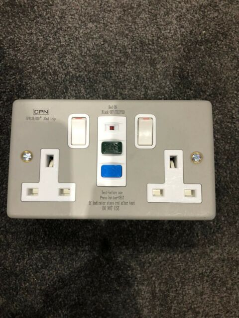 Europa RCD13ASS RCD Twin Double 2 Gang Socket SWITCHED 13amp 30mA