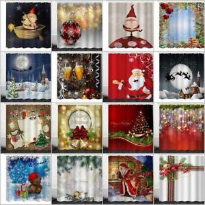 Waterproof-Fabric-Bathroom-Shower-Curtain-Christmas-Snowman-Xmas-With-12-Hooks