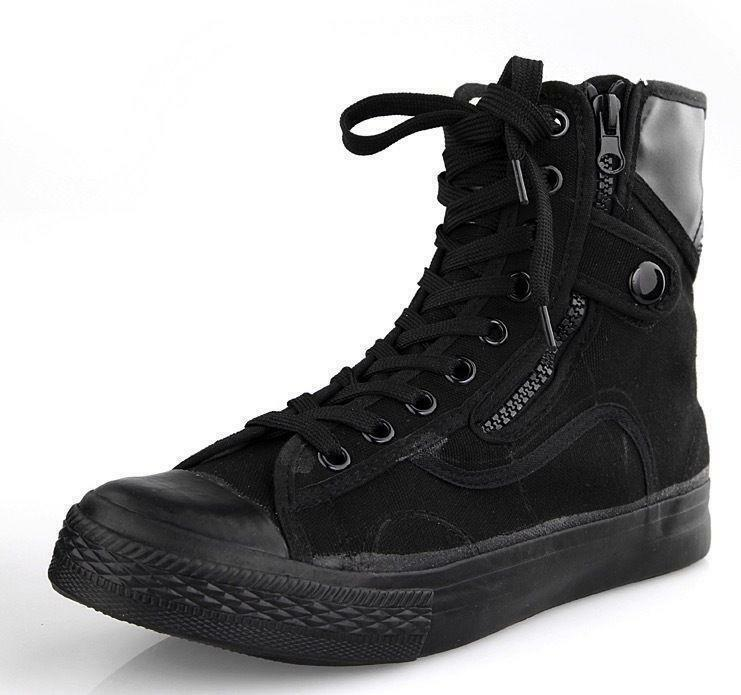 Mens Casual Ankle Boots Outdoor shoes Combat Black Canvas Military Black Sneaker
