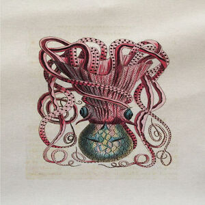 Blue Octopus Printed On Fabric Panel Make A Cushion Upholstery Craft