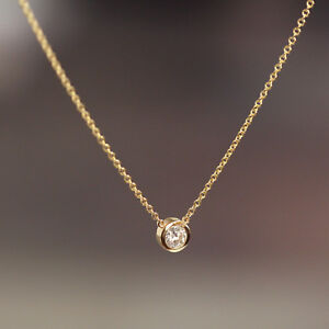 Solitaire-Natural-Diamond-Bezel-Wedding-Engagement-Floating-Layering-Necklace