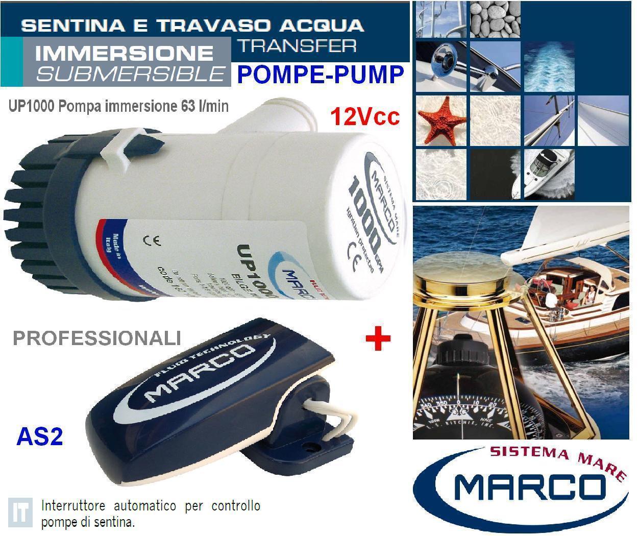 MARCO UP1000 Pumpe der bilge Tauchgang 12V 63l/min +Schalter automatisch Stiefel