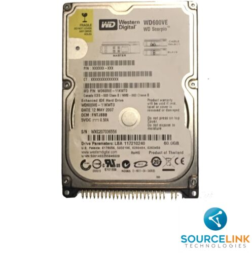 WD600VE-11KWT0 Western Digital Scorpio Blue 60GB 5400RPM ATA-100 8MB Cache 2.5-i
