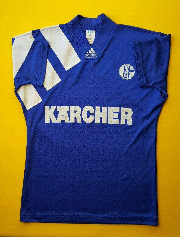 4.8 5 Schalke 04 Jersey Camisa De Fútbol Fútbol pequeño 1994 Home Adidas ig93