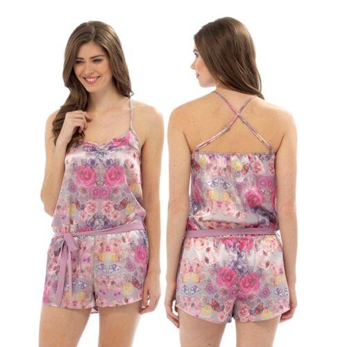 Ladies Summer Floral Satin Teddy Nightie Chemise PJs Pyjamas size 8 10 12 14 16
