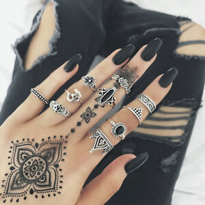 Fashion-Bohemian-Punk-Gothic-Vintage-Gold-Silver-Plated-Women-Finger-Rings-Set