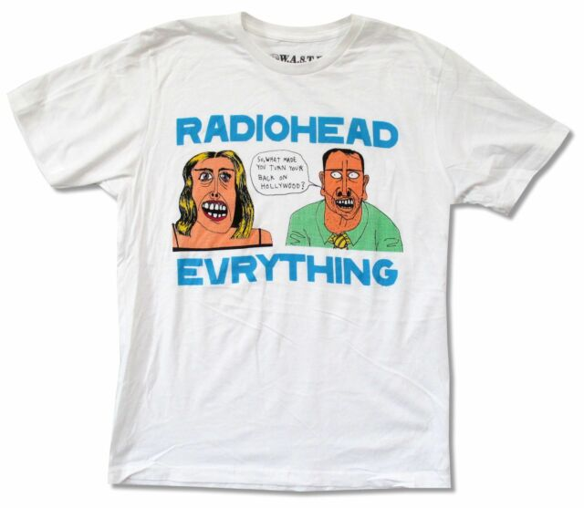 """RADIOHEAD """"EVRYTHING"""" WHITE T-SHIRT W.A.S.T.E NEW HOLLYWOOD OFFICIAL ADULT"""