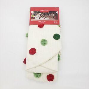 "Wondershop Pom Pom Polka Dot Christmas Tree Skirt Red 48"" Diameter Cream White | eBay"