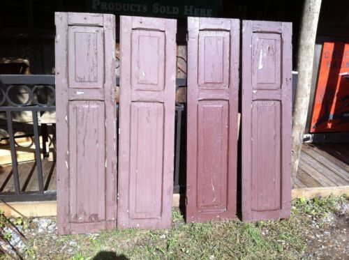 Vtg Pair 1800/'s Old  Wooden Window Shutters Architectural Salvage Screen 55 in