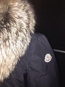 c39ff27d4 NEW $2025 Moncler Women Malus Fox Fur Trim Navy Down Jacket Parka ...