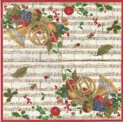 2 Serviettes en papier Musique Cor Fruits Noël Paper Napkins French Horn