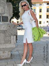 Lederrock Leder Rock Weiß Schlitz Business-Style Maßanfertigung