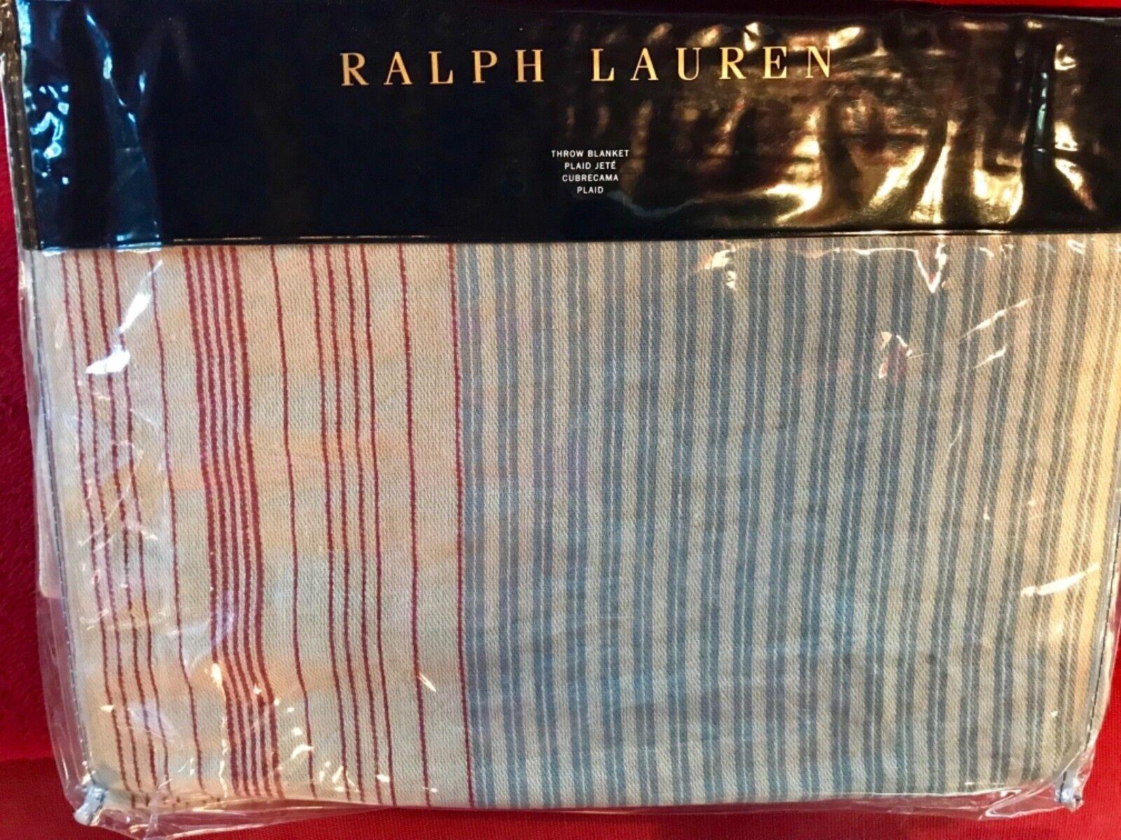 RARE RALPH LAUREN HOME HALF MOON BAY REILLY Blau MULTI BLANKET   THROWNIP