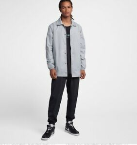 4e708cd0764433 Men s Nike Air Jordan Jumpman Coaches Jacket Grey Teal AJ6795-012 Sz ...