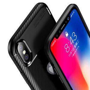 Dettagli su Cover Iphone X / XS Silicone Fibra Carbonio Carbon Fiber Look Antiurto Nera