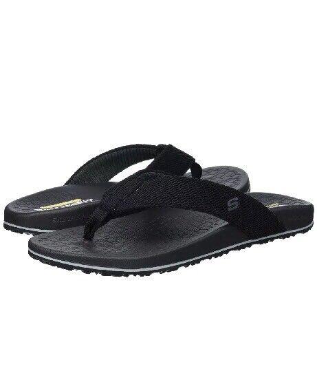 Skechers Men's Relaxed Fit Velmen Erever Flip Flop 65340  BLK Size 13
