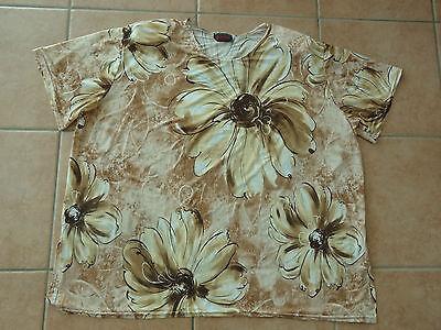 Damen Kurzarm T-shirt Moda Helena Paris 44-46-48 L-xl Bluse Vintage 70er Jahre Einen Effekt In Richtung Klare Sicht Erzeugen