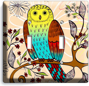 Whimsical Owl Tree Flowers 2 Gang Light Switch Wall Plate Nursery Room Art Decor Ebay
