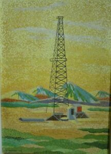 Large mosaic tile wall panel of an oil drilling well signed and dated in mosaic: