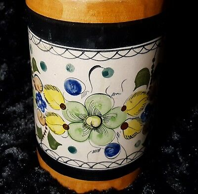 folk flowers Hand painted ceramic container mexican style utensil holder blue bird