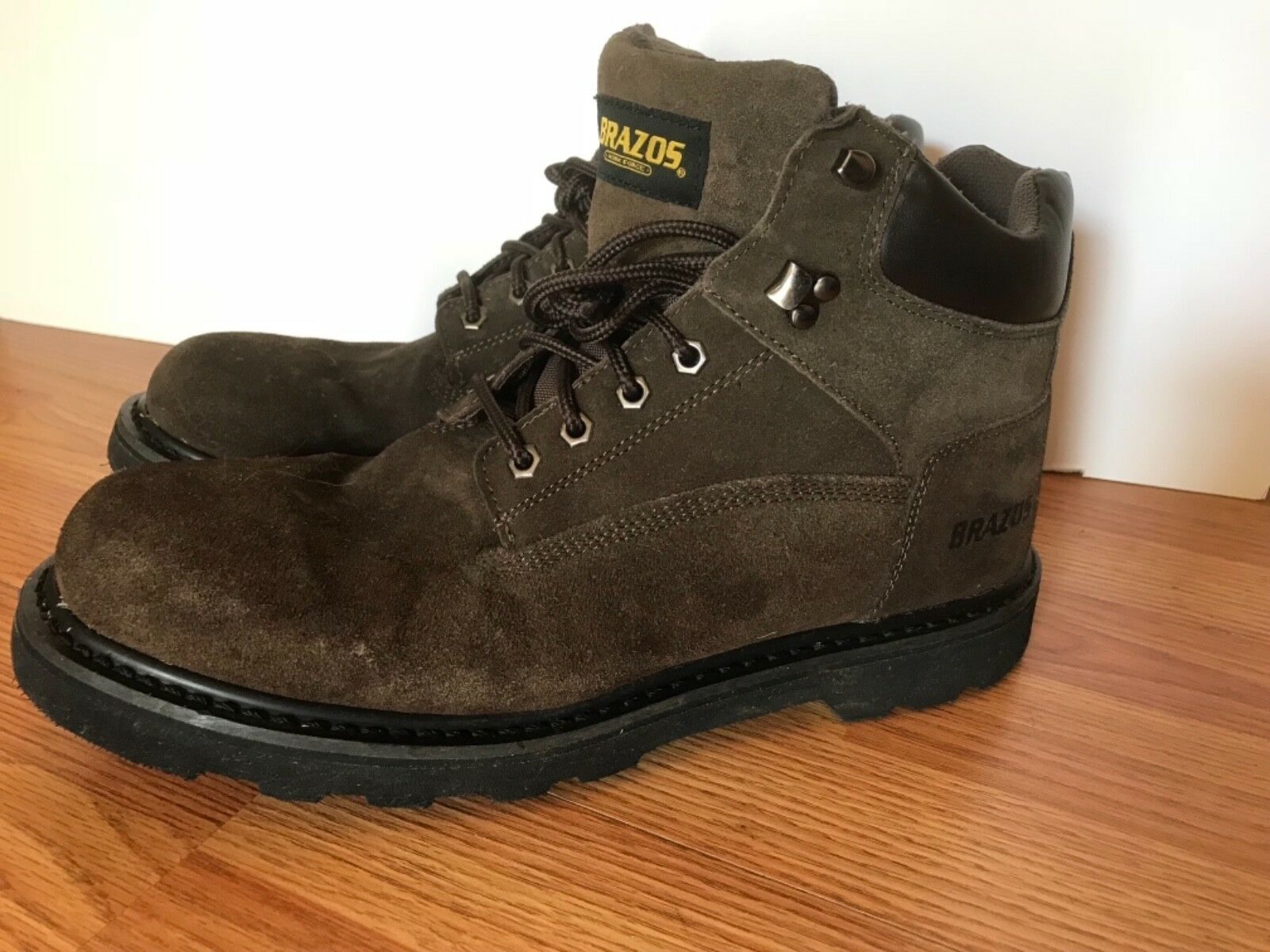 Men's Brazos Work Force Steel Toe Brown Lace Up Leather Work Boot Sz.13 D