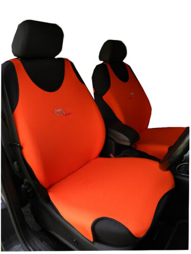 2 ORANGE FRONT VEST CAR SEAT COVERS PROTECTORS FOR VAUXHALL MOKKA