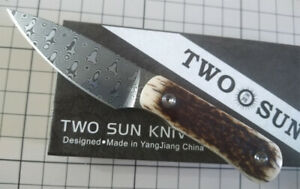 New TwoSun Knives Damascus Blade Stage Horn Kydex Belt Sheath Knife TS150-Horn