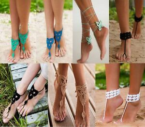 Image Is Loading Lot 7 Y Barefoot Beach Sandals Crochet Anklet