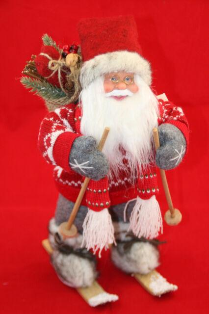 Weihnachtsmann XL 46 cm Strickpulover,Schal und Jutesack. Laterne Ski