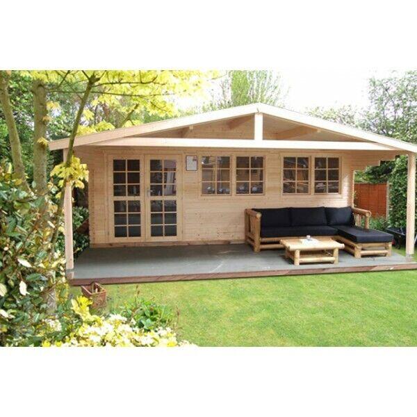 Finn Art Blockhaus Gartenhaus Norwegen 11+ 6x4m mit Veranda Vordach