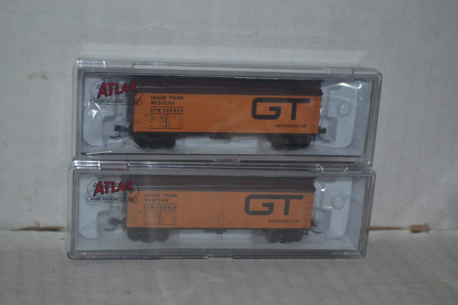 2 Atlas GT Grand Trunk Western 40' Wood Reefer Car N scale