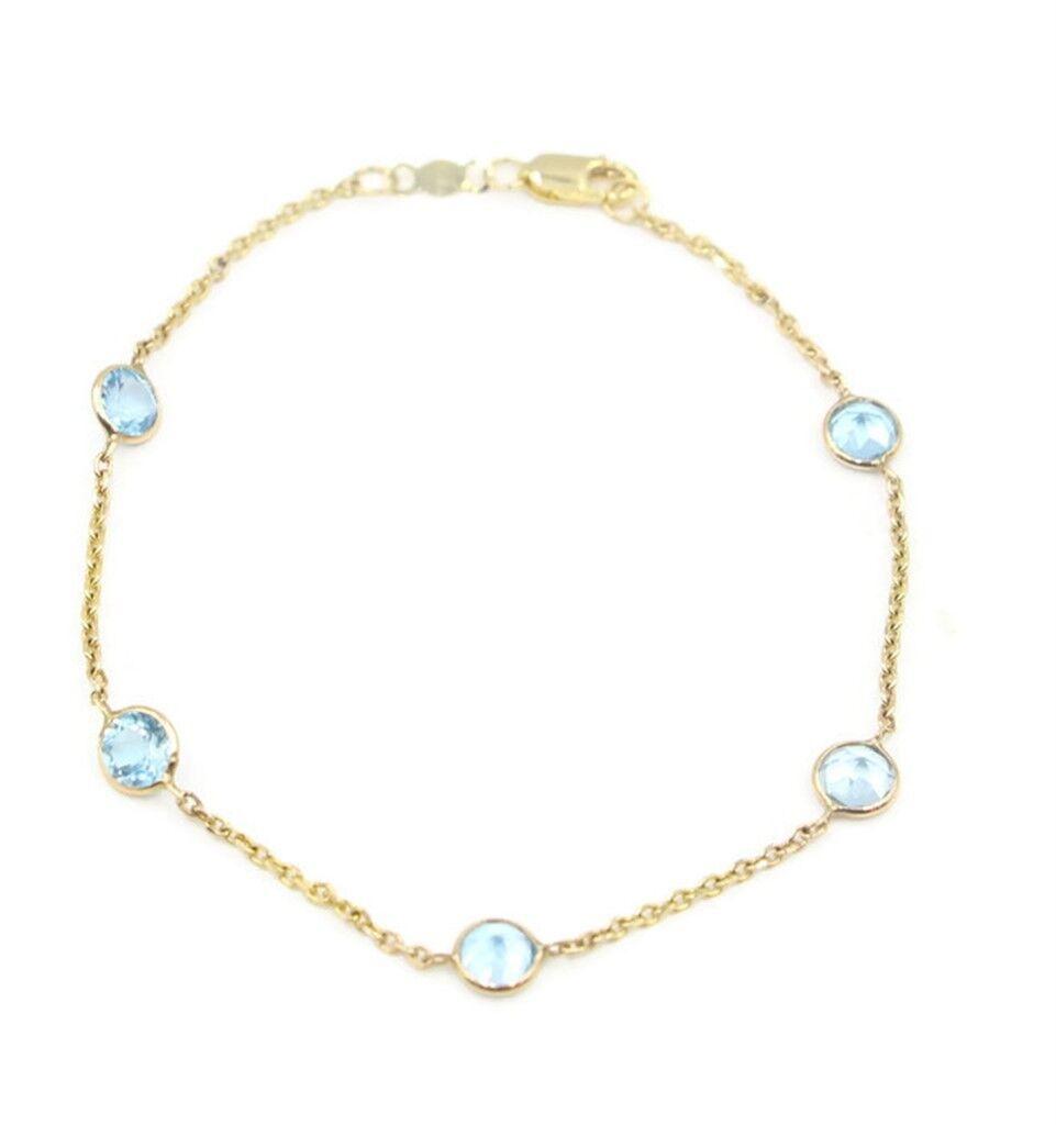 bluee Topaz  7  Bracelet,14K Yellow gold