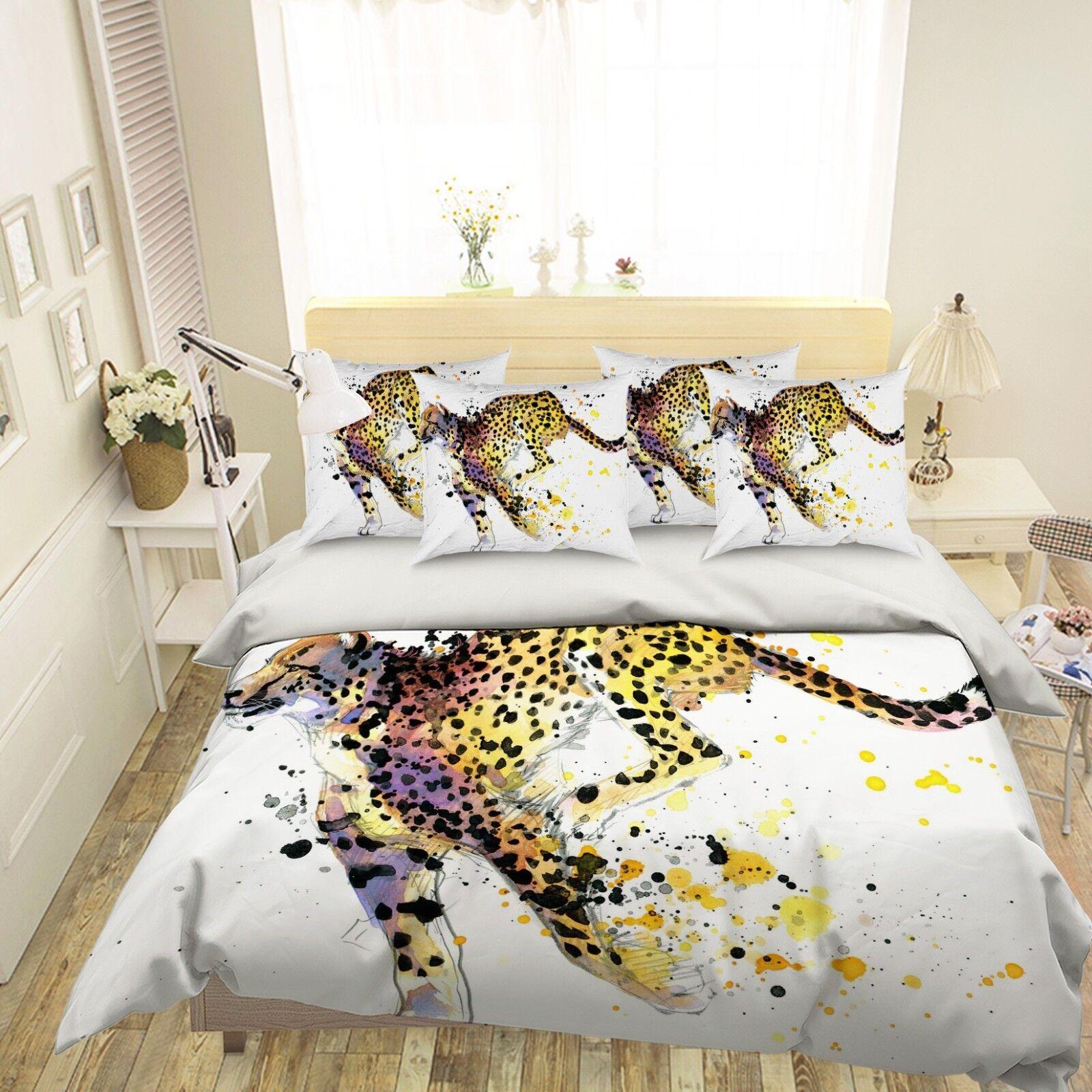 3D Yellow Leopard 4 Bed Pillowcases Quilt Duvet Cover Set Single Queen King AU