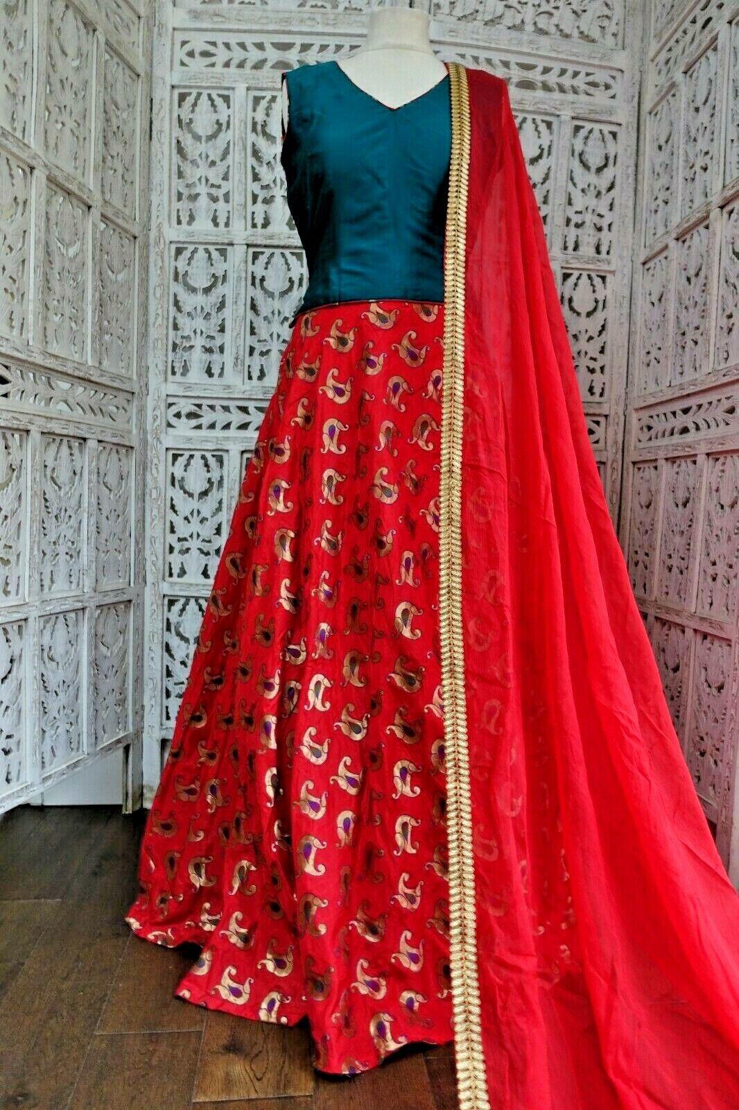Teal & red silk lengha Bollywood wedding Indian UK 12 EU 38 SKU17154