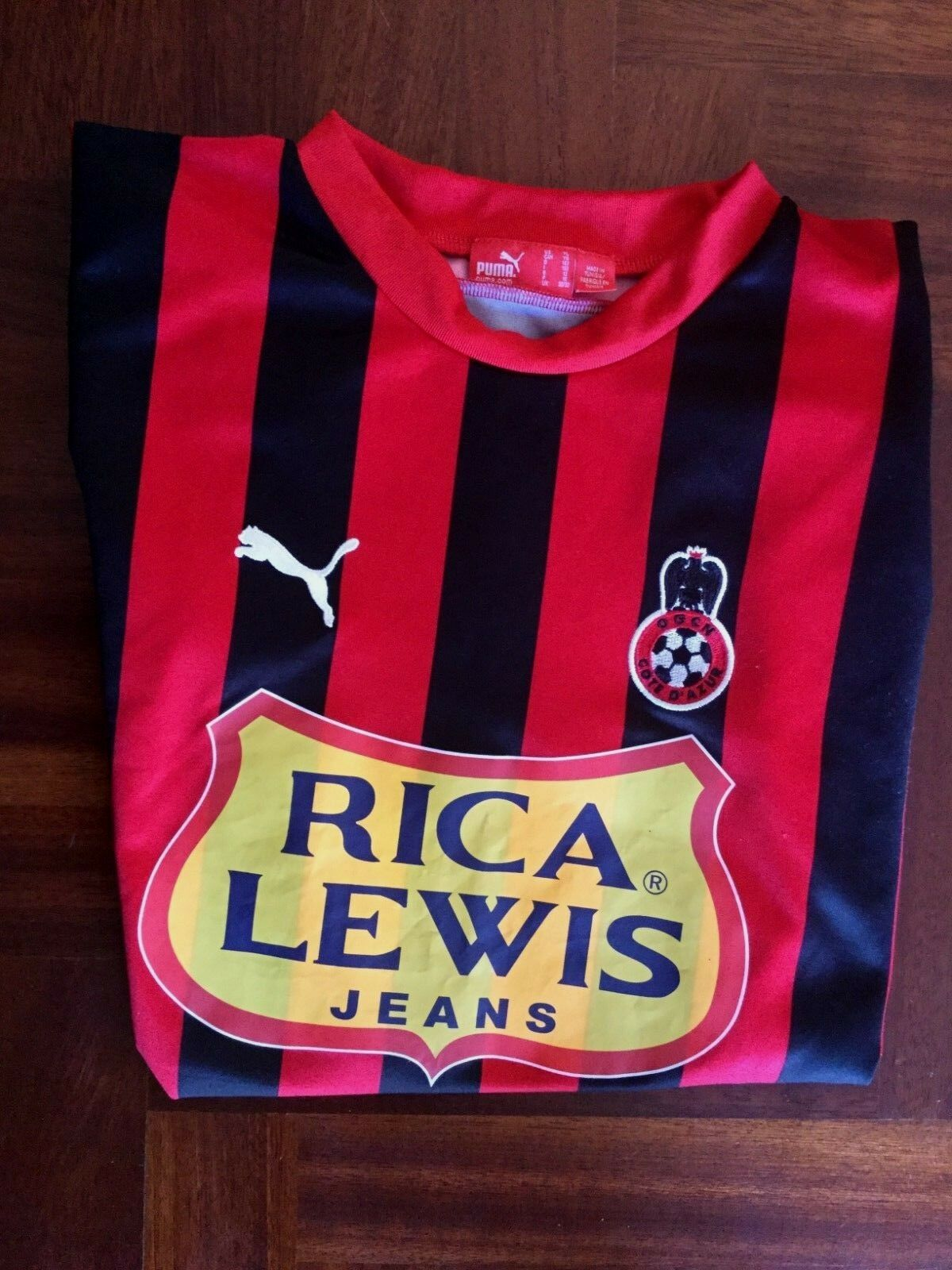 MAGLIA CALCIO PUMA OGC NICE RICA LEWIS JEANS 2007 FOOTBALL SHIRT YOUNG 11 12 YRS