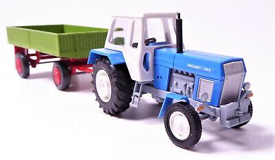 H0 BUSCH Traktor Fortschritt ZT 300-D sienagrün Hänger Pritsche E 5 grün rot