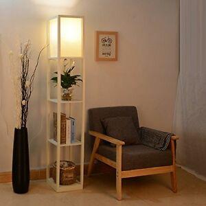 Modern wood shelf floor lamp light white shade storage - Modern lamp shades for living room ...