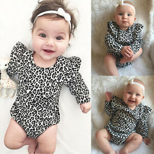 f6a801c372f UK STOCK Baby Romper Leopard Print Cotton Bodysuit Newborn Toddler ...