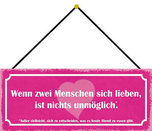If Two Lieben Nothing Impossible Shield with Cord Tin Sign 10 X 27 CM K0747-K