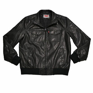 Levis Up Black Faux Mens Original Zip Pockets Strauss Jacket Leather 11OwrqBZx