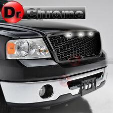 04-08 Ford F150 3x White LED Raptor Style Gloss Black Mesh Packaged Grille Grill