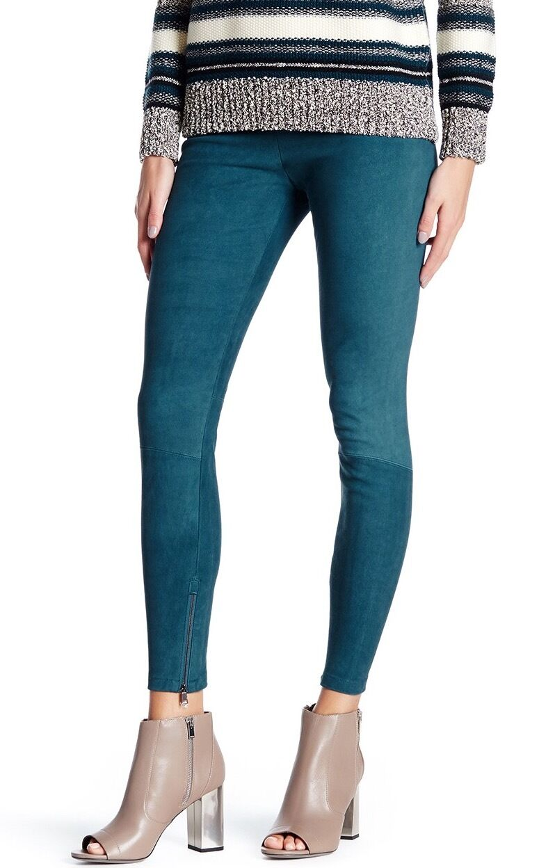 VINCE. Genuine Suede Ankle Zip Legging Teal S NWT  945
