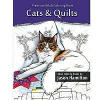 Adult Coloring Books 24 Cat Pictures W/ Quilts Dealing With Stress Anxiety Gifts