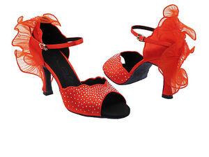 Latin Salsa Very Fine Ballroom Dance Women's Shoes SERA7014 Red Satin Ruffle